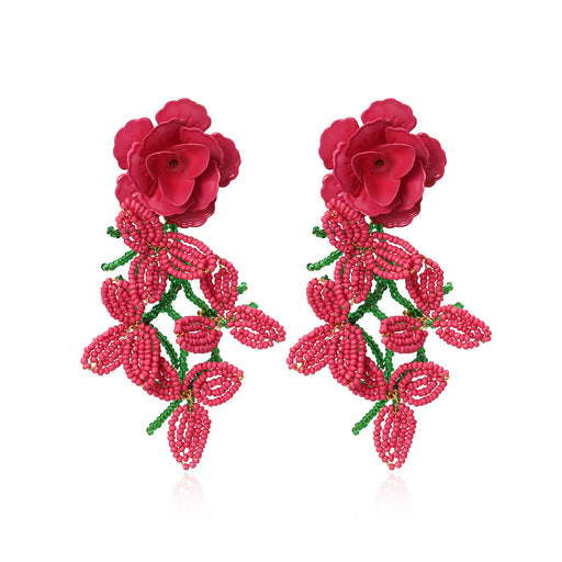 Aesthetic    Rice Beads Flower Tassel Earrings