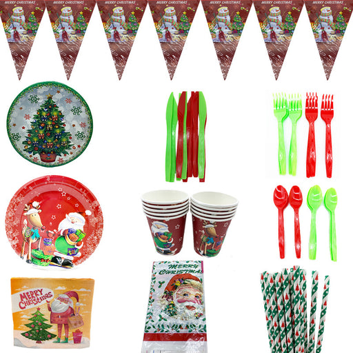 Kawaii  Japanese  Korean Christmas theme birthday party decorations pumpkin paper plate paper cup pull flag straw tableware set
