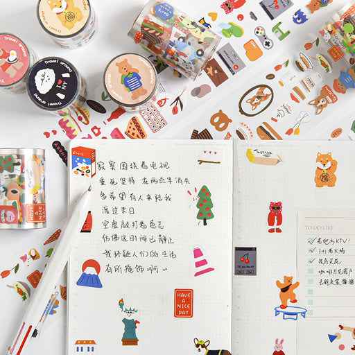 Kawaii Japanese Korean Global Tour ins cartoon cute hand account photo album diary DIY decorative stickers