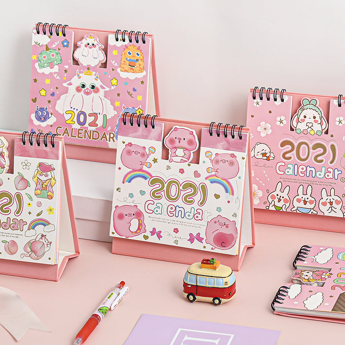 Kawaii Japanese Korean 2021 cute cartoon concave-convex desk calendar