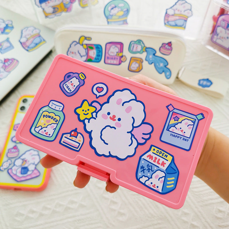 Kawaii Japanese Korean milkjoy removable sticker trembling rabbit DIY seamless computer hand account luggage sticker