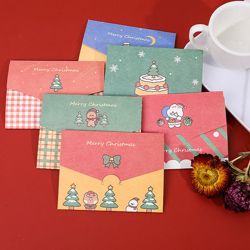Kawaii  Japanese  Korean Cartoon Christmas Card/Birthday Wishes Envelope diy Folding Small Card Christmas Message Card