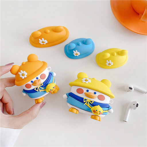 Aesthetic Cartoon Three-Color Hat Duck Bluetooth Wireless Headset Case