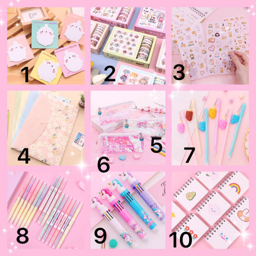 Kawii Japanese and Korean version of the small fresh and soft sister pink notebook, stickers, ballpoint pens, pencil case stationery Surprise Box-LB001