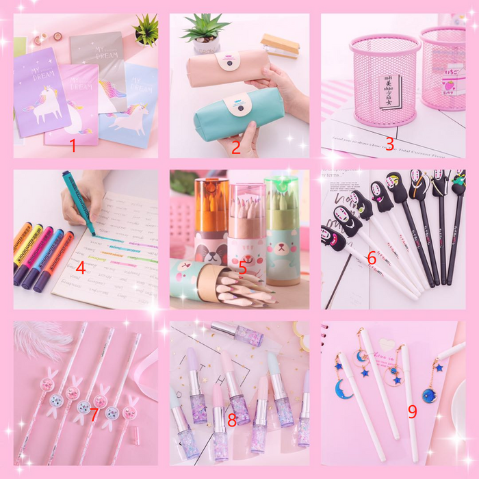 Kawii Japanese and Korean version of the small fresh and soft sister pink notebook, stickers, ballpoint pens, pencil case stationery Surprise Box
