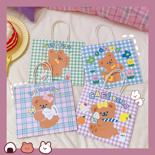 Kawaii Japanese Korean cute cartoon cute bear paper bag portable shopping bag/packing bag/gift gift storage bag