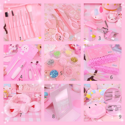 Kawaii  Japanese  Korean  Girl cosmetics tool kit