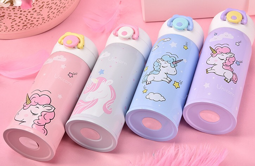 Kawaii  Japanese  Korean Cute girly pink unicorn thermos cup stainless steel water cup