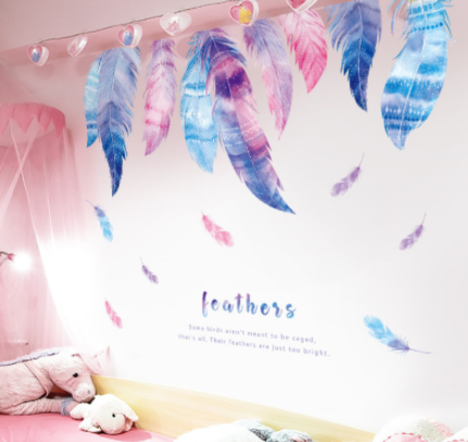 Girly Heart Painted Feather Wallpaper Sticker