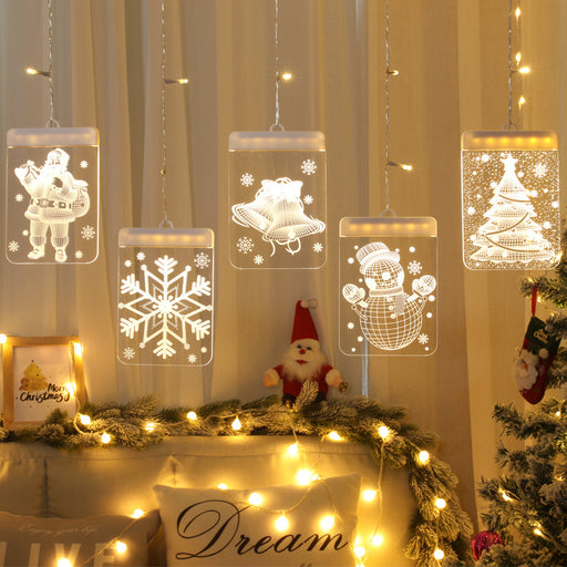 Kawaii Japanese Korean  Christmas decoration 3D hanging lights/old man modeling curtain icicle string lights