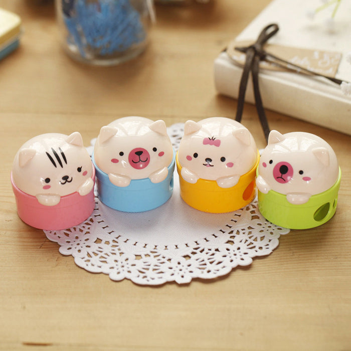 Kawaii Korean Japanese  Cartoon Peppa Piggy Bear Cat Creative Girly Pencil Sharpener