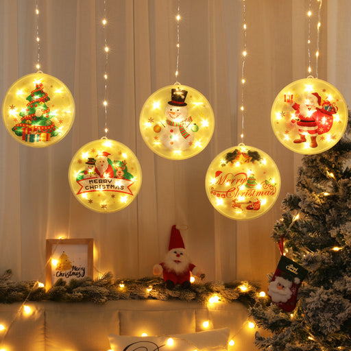 Kawaii Japanese Korean Christmas Atmosphere Curtain Window Installation LED Lantern Suction Cup Hanging Light