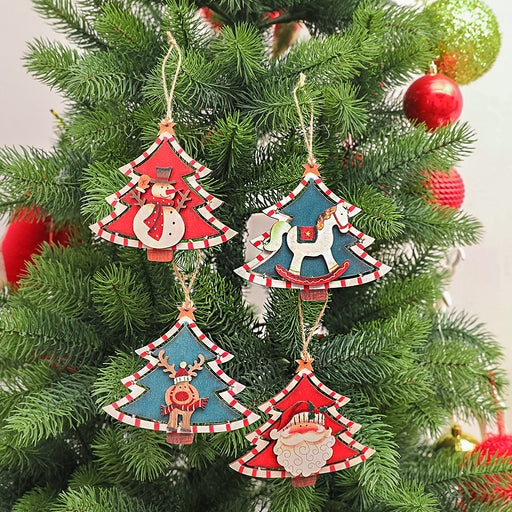Kawaii  Japanese  Korean Christmas wooden painted Christmas tree old man snowman pendant/Christmas tree decoration accessories