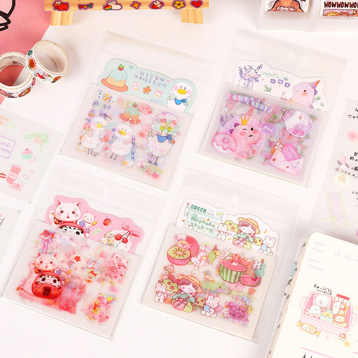 Kawaii Japanese Korean Cartoon cute ins style girl heart hand account sticker
