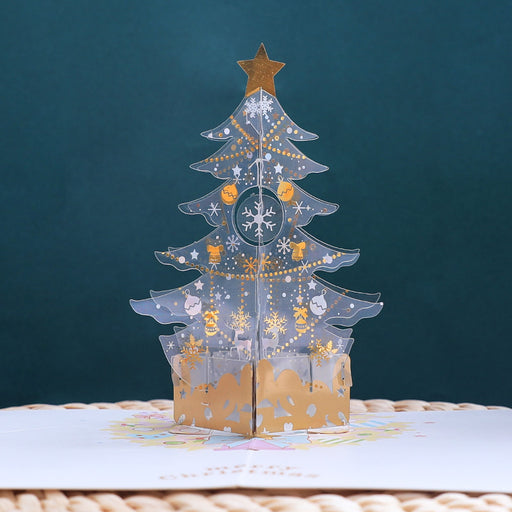 Kawaii Japanese Korean   Crystal Christmas tree holiday blessing thanksgiving card
