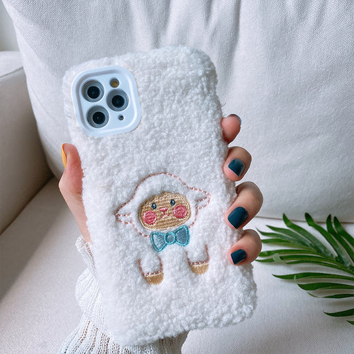 Aesthetic  Plush Embroidery Sheep Phone Case