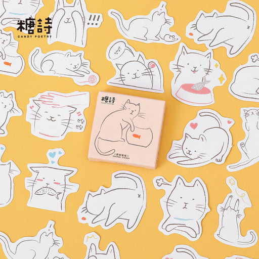Kawaii  Japanese  Korean Candy poetry, what about my fish, sticker cartoon cat hand account sticker
