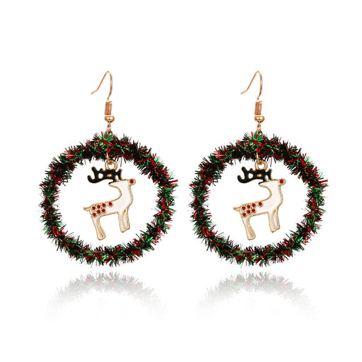 Aesthetic   Hand Knitted Christmas Tree Sika Deer Earrings