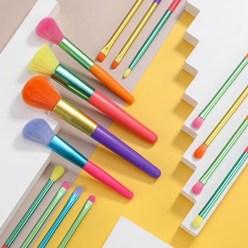 Rainbow makeup brush-15 multicolor set