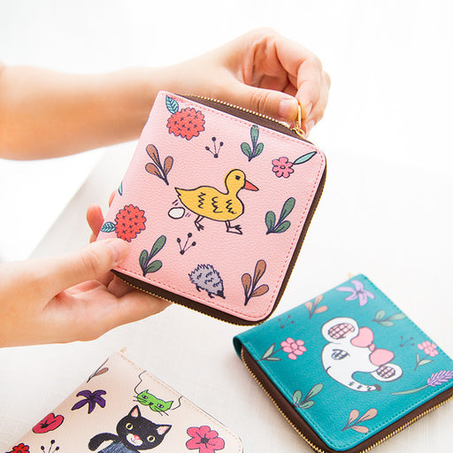 Colorful world side wallet cute animals hand-painted multi-functional bag small fresh card bag