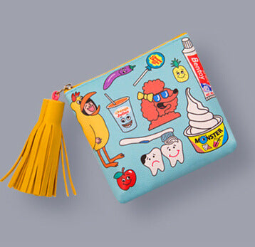 Kawaii Korean Japanese Blame Uncle Casual Blame Harajuku Large Capacity Coin Tassel Wallet