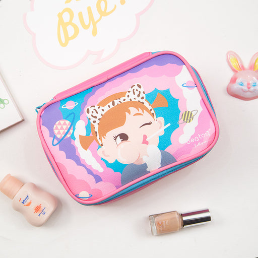 Bang bang square bag lovely large capacity makeup bag small fresh pink receive bag