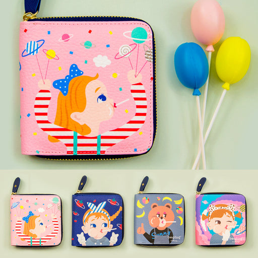 Bang bang square wallet cute cartoon girl multi-functional bag small fresh Korean wallet