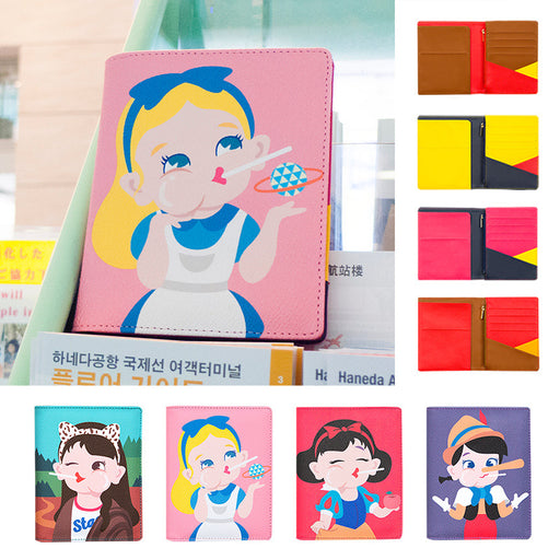 Bang bang multi-functional passport folder cute soft sister multi-functional leather certificate folder