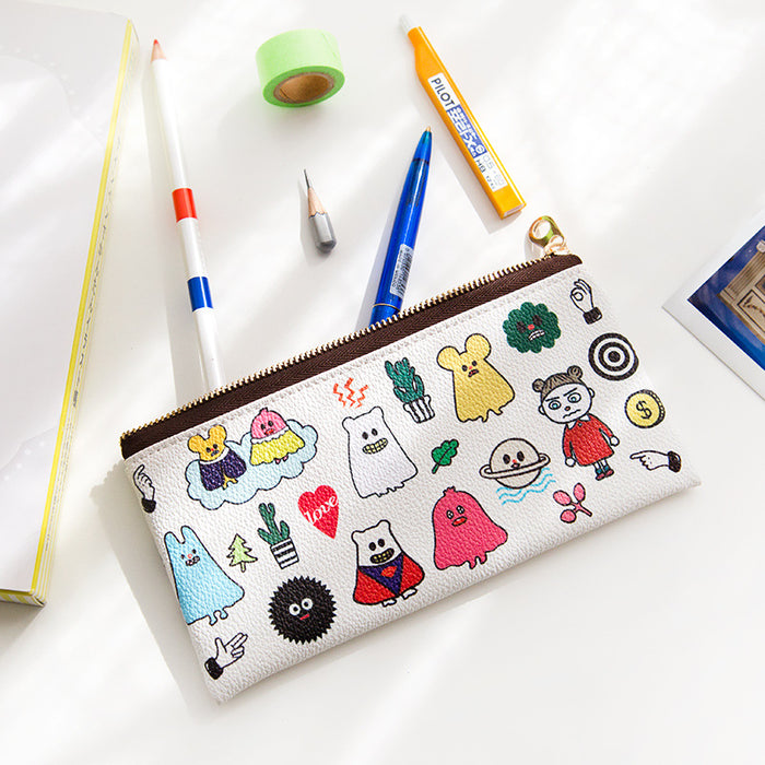 Korea edition ghost pen bag lovely play strange flat pen bag receive bag