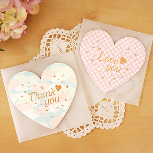 Kawaii  Japanese  Korean  Love Greeting Card Valentine's Day Heart-shaped Greeting Card