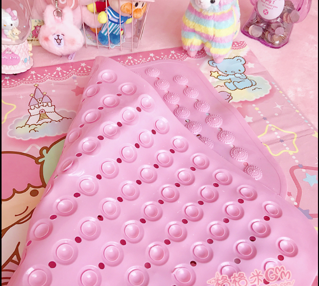 Cute girl heart bathroom anti-slip mat with suction cup pvc foot mat home mat door mat