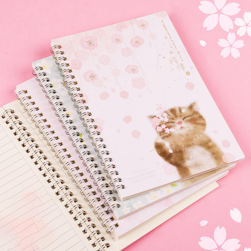 Kawaii Japanese Korean  Sakura cat spiral notebook