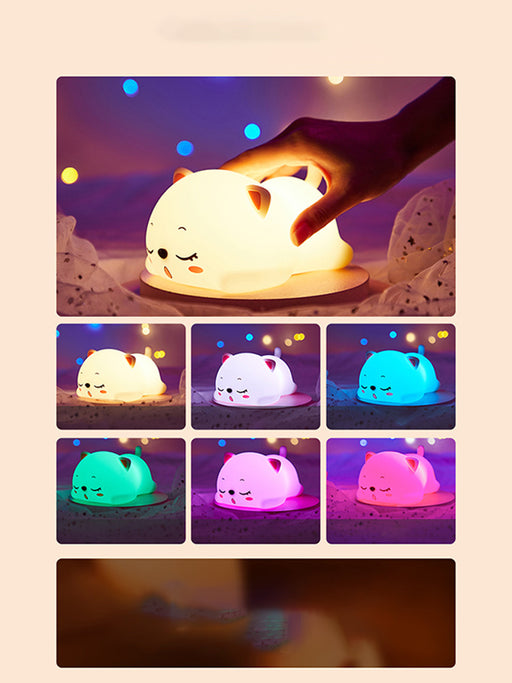 Cute Cat Silicone Remote Control Patting Colorful Night Light