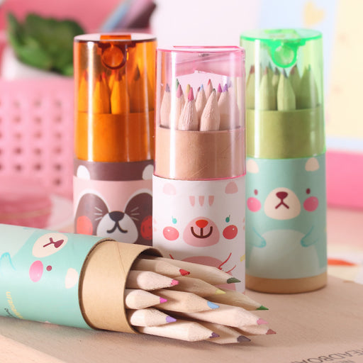 Kawaii  Japanese  Korean  Cute mini bear small pencil painting pen coloring pen color pencil 1 box of 12 colors
