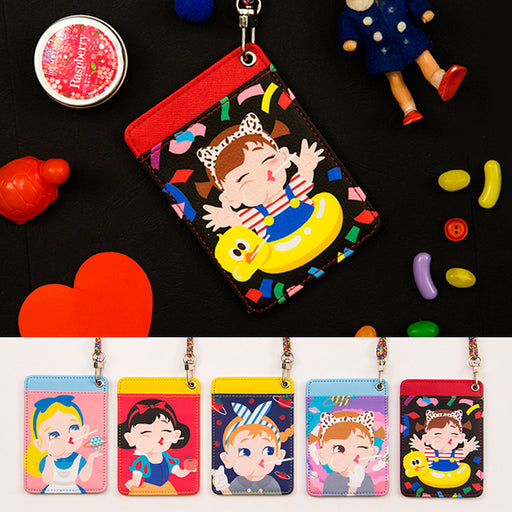 Cartoon cute girl character card package bus card cover with cord card clip