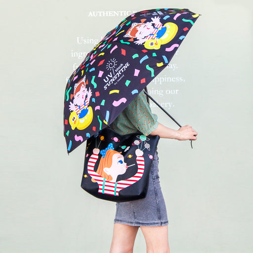 Bang bang umbrella cute cartoon vinyl sunshade uv zero - penetration folding umbrella