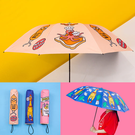 Cute cartoon vinyl sunshade uv - free folding black umbrella