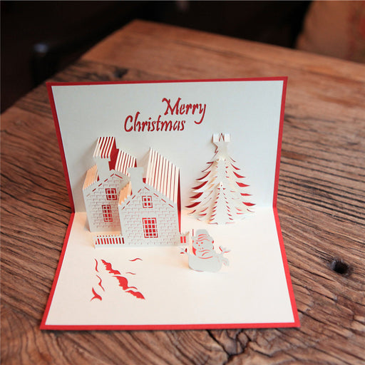 Kawaii Japanese Korean  Christmas handmade greeting card/Christmas castle