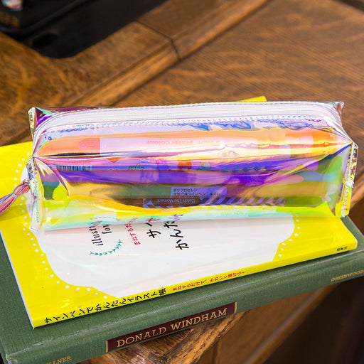 Laser pencil bag fresh art transparent pencil bag laser colorful stationery pencil bag