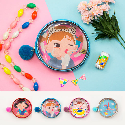 Bang bang transparent small zero wallet cute cartoon fur ball coin bag earphone small storage bag