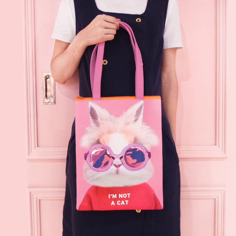 Local tyrant meeting tote bag funny animal shoulder bag cute laser backpack