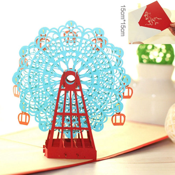 Kawaii Japanese Korean -Ferris Wheel Card Blessing Postcard