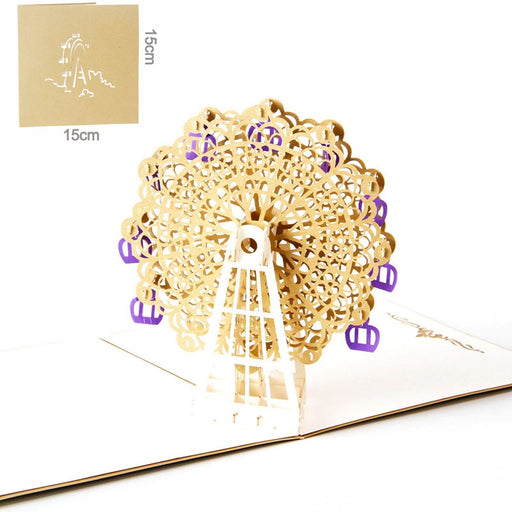 Kawaii Japanese Korean 3D three-dimensional greeting card Thanksgiving handmade birthday custom hollow golden Ferris wheel