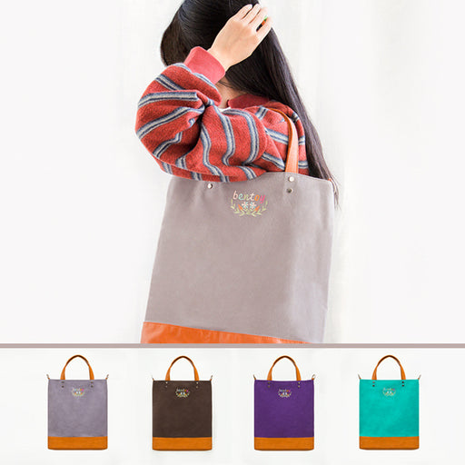 Embroidered canvas tote bag patchwork art fresh shoulder bag