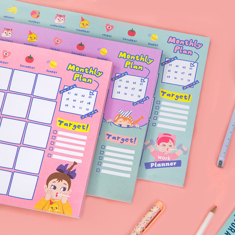 Bang bang desktop calendar plan this lovely girl monthly plan this a4 productivity manual