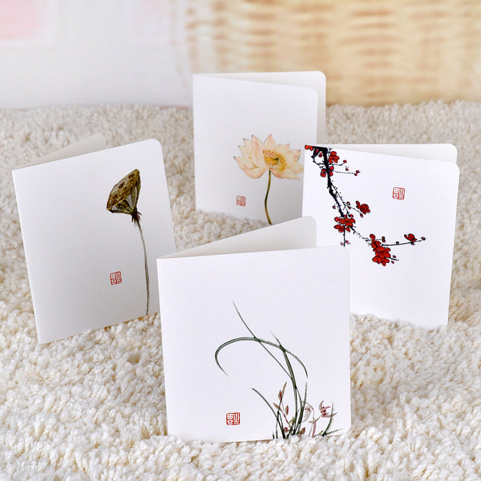 Kawaii  Japanese  Korean  White simple message diy folding birthday christmas new year blessing greeting card