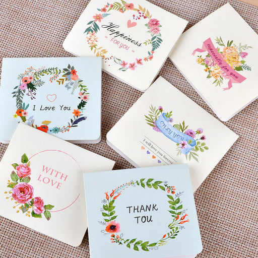 Kawaii  Japanese  Korean  Beautiful flower greeting card english diy folding christmas new year's day confession thanks blessing card
