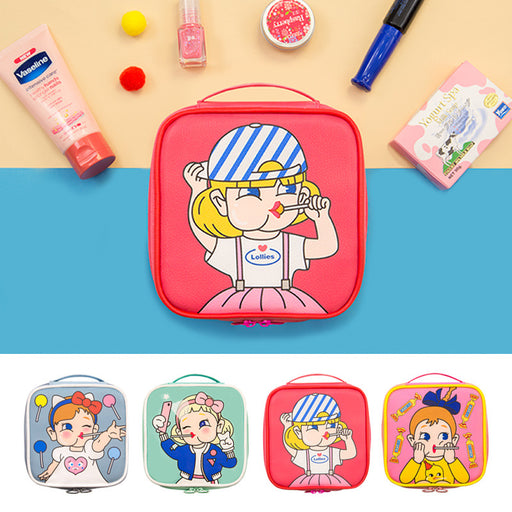Bang bang makeup bag with handle lovely girl cartoon printing large capacity square makeup bag