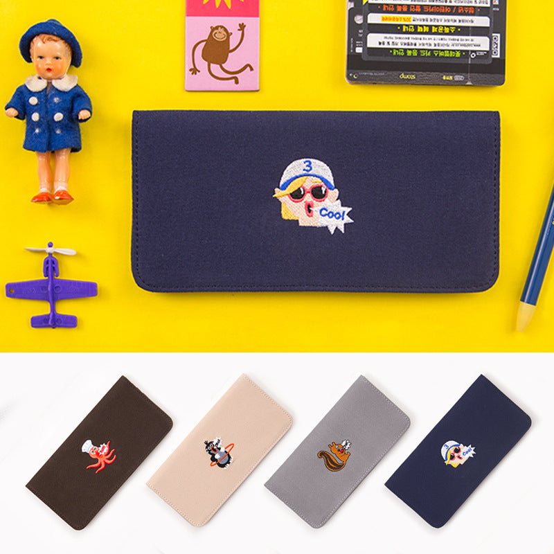 Embroidered canvas wallet pure and fresh long style wallet