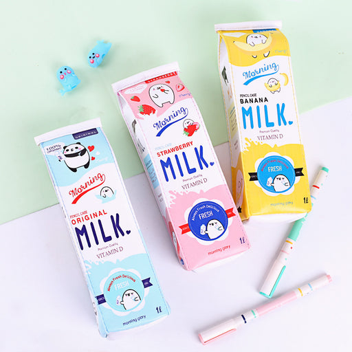 Kawaii Japanese Korean Cartoon milk carton pencil case